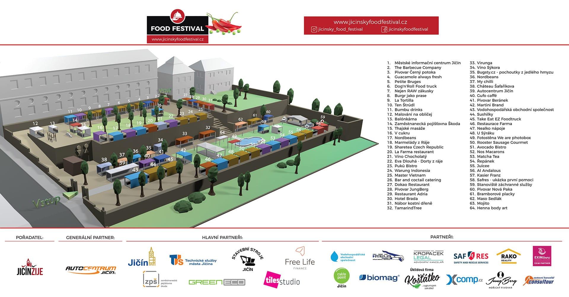 Jičínský Food Festival 2021 - 3D mapa